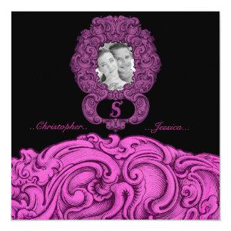 S - L'alphabet de Falck (rose) (mariage) Carton D'invitation 13,33 Cm