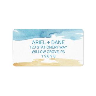 Sable d'aquarelle et mariage de mer étiquette d'adresse