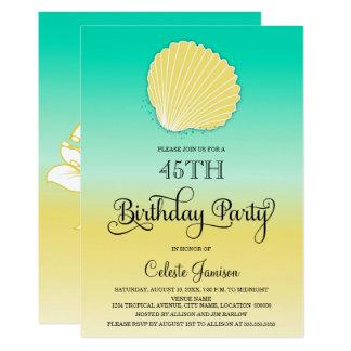Sable de coquillage et fête d'anniversaire d'Ombre Carton D'invitation 12,7 Cm X 17,78 Cm