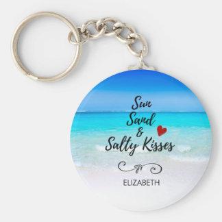 Sable de Sun et plage tropicale de baisers salés Porte-clé Rond