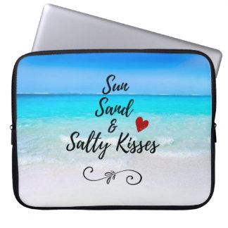 Sable de Sun et plage tropicale de baisers salés Trousses Pour Ordinateur Portable