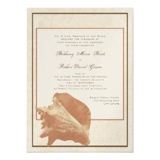 Sable et mariage de rivage d'océan de Shell Carton D'invitation 13,97 Cm X 19,05 Cm