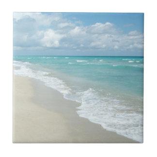 Sable extrême de blanc de vue de plage de petit carreau carré
