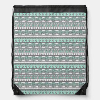 Sac à dos à la mode aztèque Girly gris vert en bon