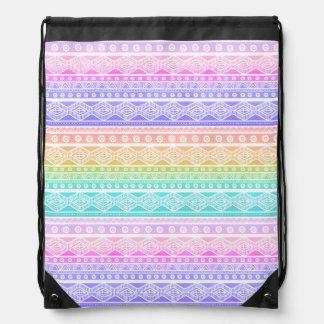 Sac à dos aztèque Girly de cordon de pastels