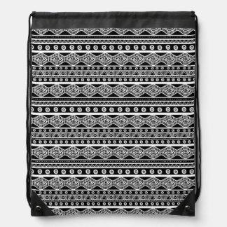 Sac à dos aztèque Girly noir et blanc de cordon