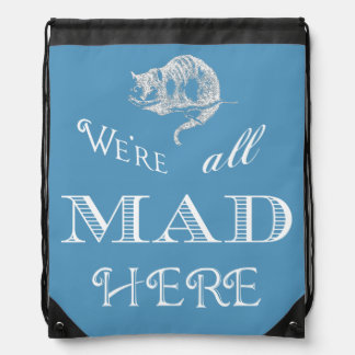 Sac à dos bleu fou de cordon de chat de Cheshire