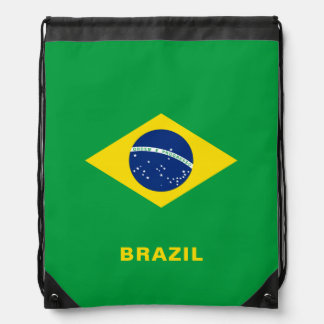 Sac à dos de cordon de drapeau du Brésil