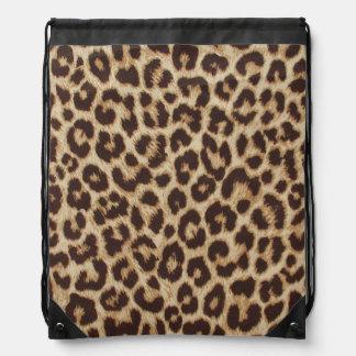 Sac à dos de cordon d'empreinte de léopard