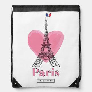 Sac à dos moderne de Tour Eiffel rose frais de