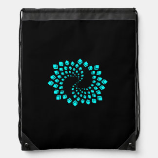Sac à dos motif spirale bleu turquoise