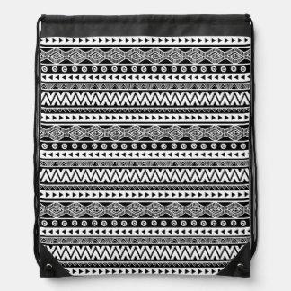 Sac à dos tribal aztèque frais noir et blanc