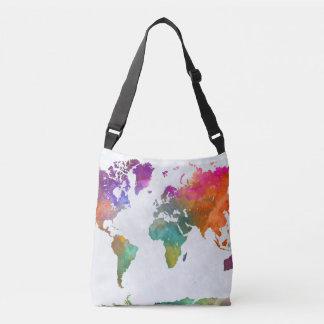 Sac Ajustable Carte du monde dans l'aquarelle