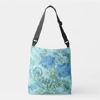Sac Ajustable Motif floral bleu vintage de cachet de la poste de