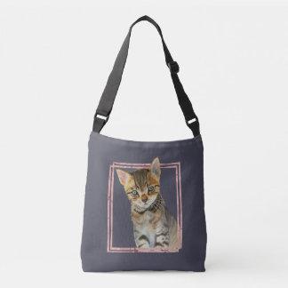 Sac Ajustable Peinture de chat tigré avec le cadre rose de