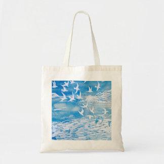 Sac Art moderne d'aquarelle d'oiseaux bleus de côte
