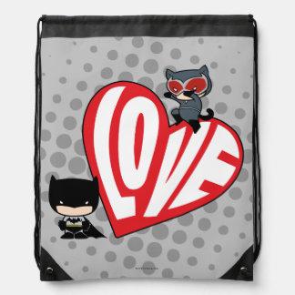 Sac Avec Cordons Attaque de Catwoman de Chibi sur Batman