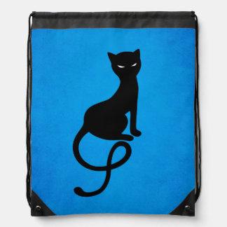 Sac Avec Cordons Chat noir mauvais aimable bleu