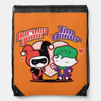 Sac Avec Cordons Chibi Harley Quinn et coeurs de joker de Chibi