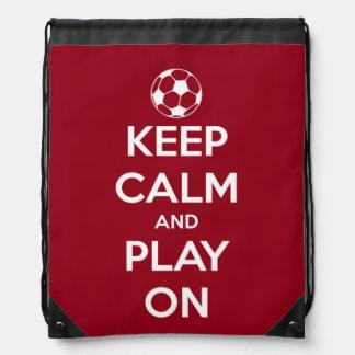 Sac Avec Cordons Gardez le calme et le jeu sur rouge et blanc