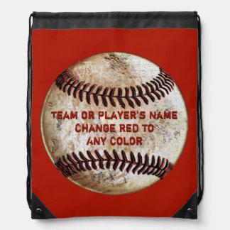 Sac Avec Cordons Le dos vintage de base-ball emballe VOTRE TEXTE et