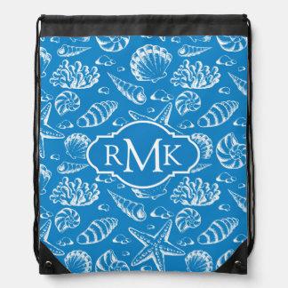 Sac Avec Cordons Monogramme bleu du motif   de plage