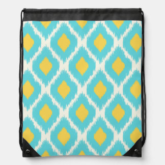 Sac Avec Cordons Motif tribal aztèque jaune bleu à la mode d'Ikat