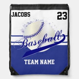 Sac Avec Cordons Nom et nombre bleu-foncé de l'équipe de baseball |