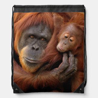 Sac Avec Cordons Orang-outan de mère et de bébé