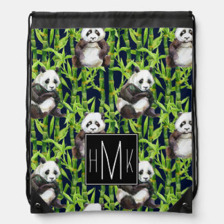 Sac Avec Cordons Panda avec le monogramme en bambou du motif |