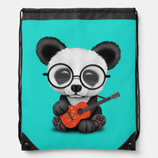 Sac Avec Cordons Panda de bébé jouant la guitare chinoise de