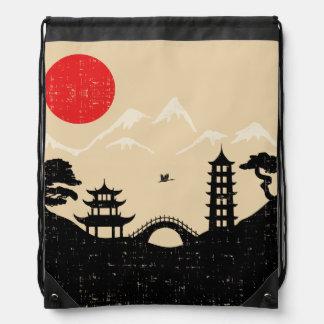 Sac Avec Cordons Paysage japonais - style grunge
