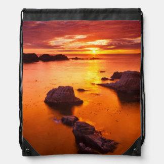 Sac Avec Cordons Paysage marin orange, coucher du soleil, la