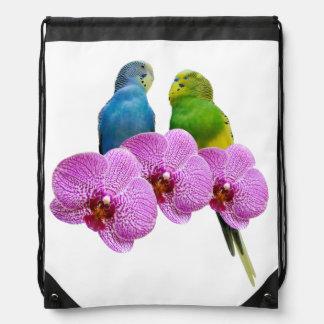 Sac Avec Cordons Perruche avec l'orchidée pourpre