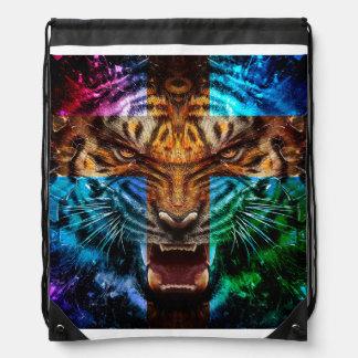 Sac Avec Cordons Tigre croisé - tigre fâché - visage de tigre - le