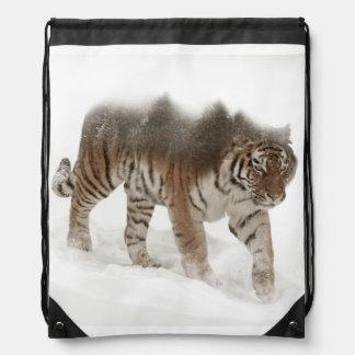 Sac Avec Cordons Tigre-Tigre-double exposition-faune sibérienne