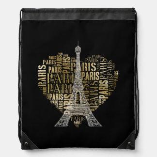 Sac Avec Cordons Tour Eiffel et inscriptions d'or Paris au coeur