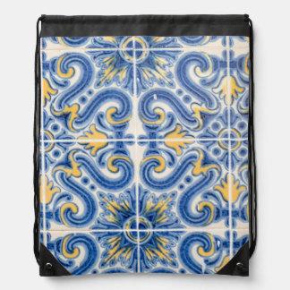 Sac Avec Cordons Tuile bleue et jaune, Portugal