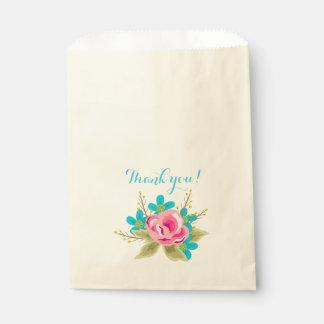 Sac avec les fleurs et le texte : Merci ! Sachets En Papier