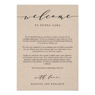 Sac bienvenu d'accueil de mariage de lettre et carton d'invitation  12,7 cm x 17,78 cm