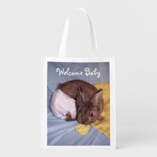 Sac bienvenu de lapin de bébé sacs d'épicerie réutilisables