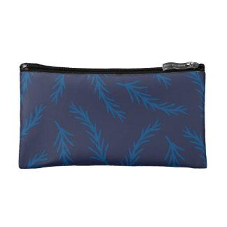 Sac bleu de cosmétique de branches trousses de maquillage