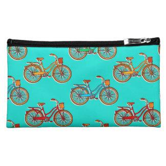Sac bleu de cosmétique de suède de bicyclette