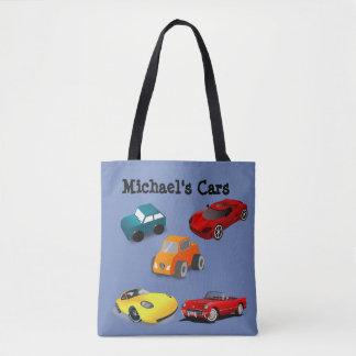 """Sac bleu de """"voitures du jouet"""" de l'enfant"""