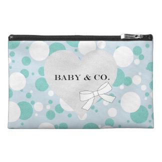 Sac bleu et blanc d'accessoire de partie de bébé trousse à accessoires de voyage
