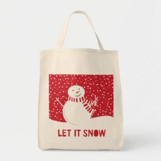 Sac bonhomme de neige rouge et blanc contemporain