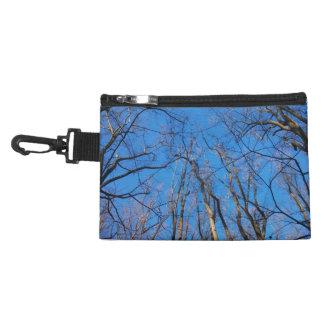 Sac brillant de cosmétique de forêt de bleu et trousse pour accessoires