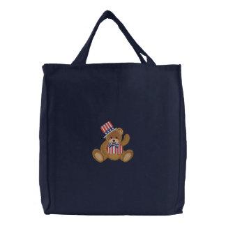 Sac Brodé Ours de nounours patriotique des Etats-Unis