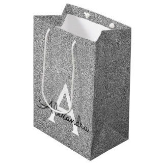 Sac Cadeau Moyen 25ème Monogramme argenté de parties scintillantes