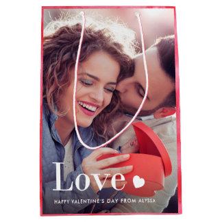 Sac Cadeau Moyen Amour | votre photo personnelle et un coeur
